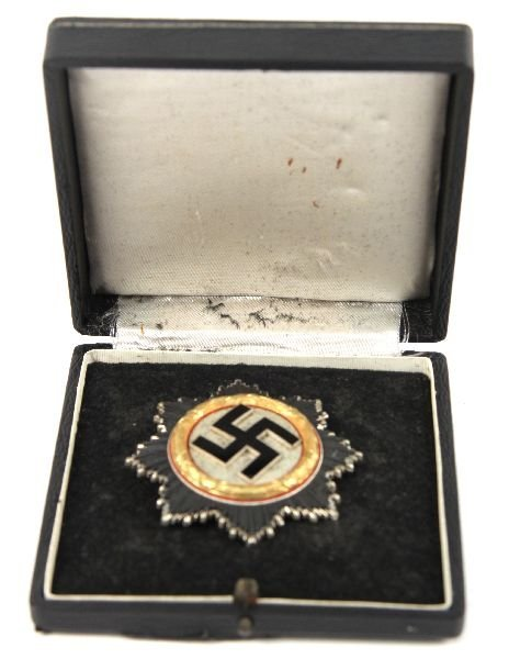 WWII ORDER OF THE GERMAN CROSS IN GOLD CASED