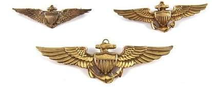 3 WWII 10K & 14K GOLD U.S. NAVY AVIATOR WINGS