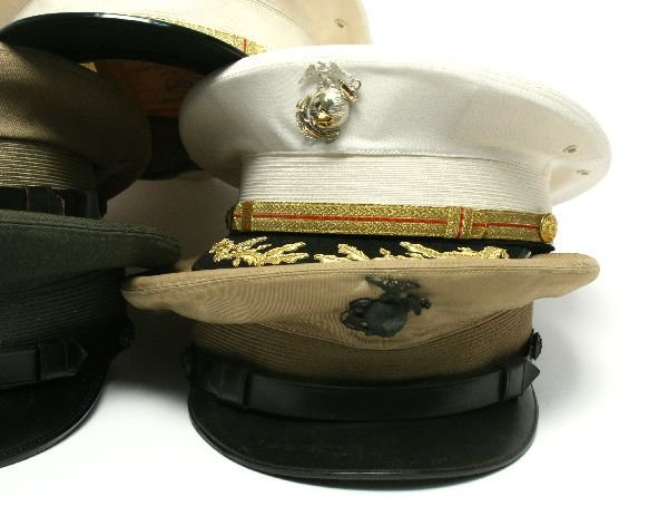 5 MARINE CORPS VISOR HATS WITH GLOBES - 2