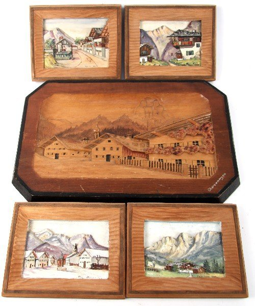 5 BAVARIAN PAINTED WOOD CARVINGS SOME DATED 1950