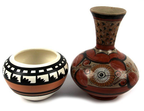 TWO HAND PAINTED AND SIGNED CLAY POTTERY