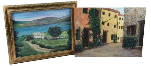 2 OIL ON CANVAS PAINTINGS SIGNED MYRA ROBERTS