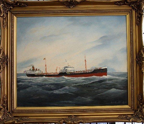 HERB HEWITT ORIGINAL OIL OF PAN RHODE ISLAND SHIP