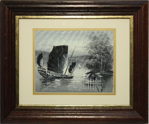 FRAMED PAINTING OF ASIAN SAIL BOAT ON PAPER