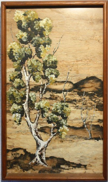 FRAMED PAINTING ON STRIPPED WOOD