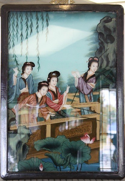 JAPANESE REVERSE PAINTED ON GLASS PICTURE