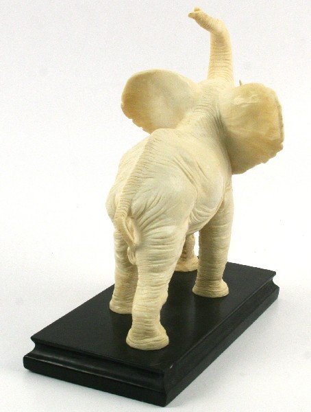 LARGE FAUX IVORY ELEPHANT ON BASE - 3