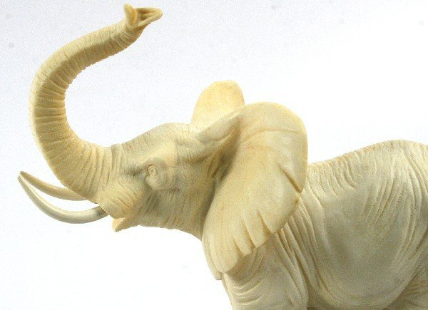 LARGE FAUX IVORY ELEPHANT ON BASE - 4