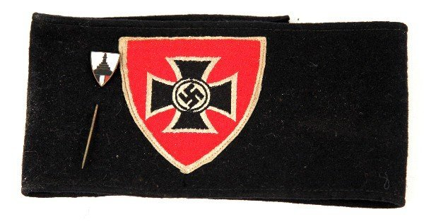 WWII GERMAN WOUNDED VETERAN ARM BAND & STICK PIN