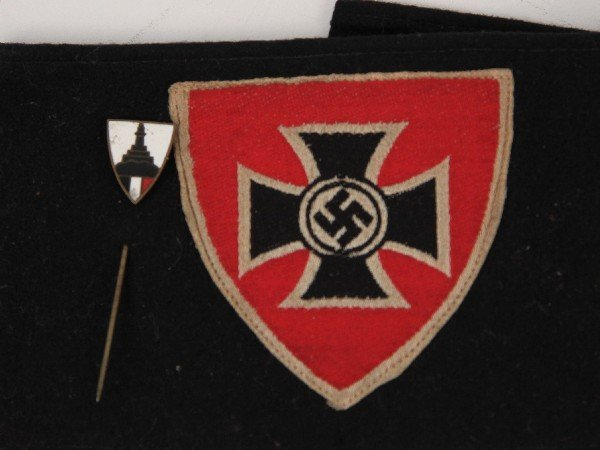 WWII GERMAN WOUNDED VETERAN ARM BAND & STICK PIN - 3