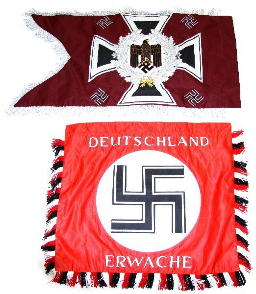 TWO REPRODUCTION WWII THIRD REICH BANNERS