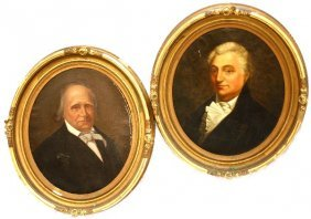 TWO FRAMED PORTRAITS OF BRITISH GENTLEMEN 19TH CEN