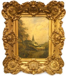 18TH 19TH CENTURY LANDSCAPE PAINTING CHURCH
