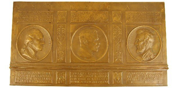 CHARLES TAFT AMERICANIZATION TABLET BAS-RELIEF