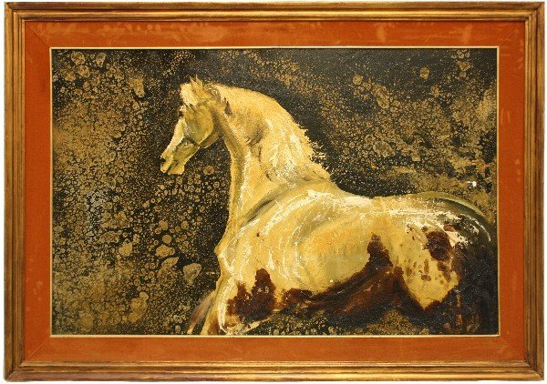 FRAMED ABSTRACT PAINTING OF A HORSE
