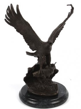EDWARD CHOPE BRONZE OF EAGLE IN FLIGHT WITH FISH