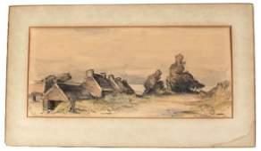 LUCIEN PISSARO SIGNED WATERCOLOR LANDSCAPE