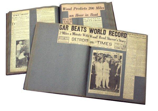 TWO SCRAP BOOKS OF GAR WOOD BOAT RACING NEWS CLIPS