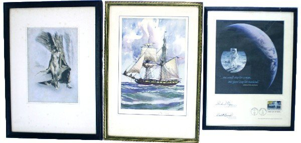 THREE FRAMED MISCELLANEOUS ITEMS OWNED BY GAR WOOD