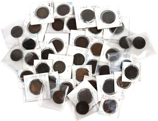 CANADA LARGE CENT PARTIAL SET 40 COINS WITH 1858