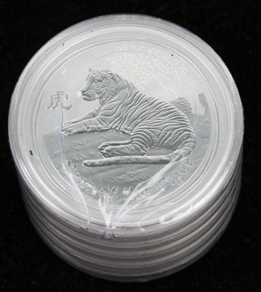 5 AUSTRALIAN LUNAR 2010 TIGER 2 OZ .999 SILVER