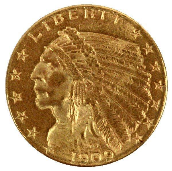 GOLD INDIAN $2.50 QUARTER EAGLE COIN XF