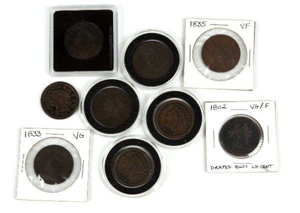 l;ARGE CENT LOT DRAPED BUST TO BRAIDED HAIR 9 COIN