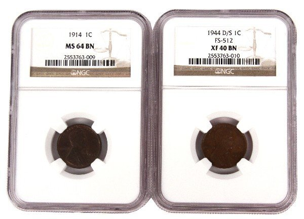 1914 NGC MS64 BN 1944 D/S XF40 BN LINCOLN CENT LOT