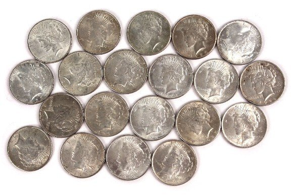 20 MIXED DATE SILVER PEACE DOLLARS ALL XF TO AU