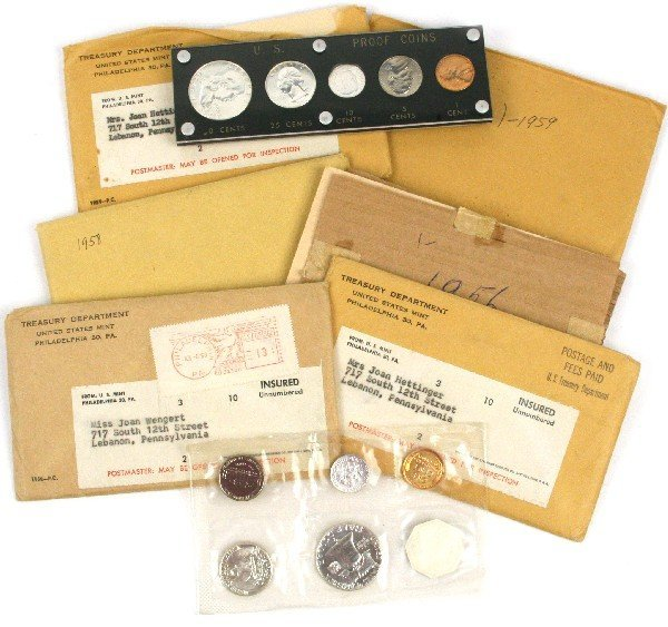 11 PRE 1960 PROOF & UNCIRCULATED SETS W FLAT PACK