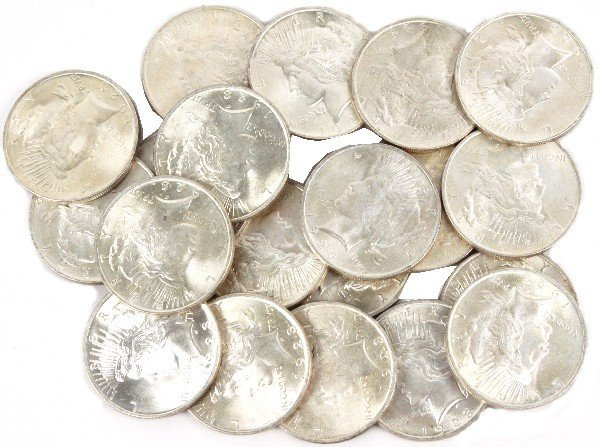 20 COIN BU ROLL OF 1923 SILVER PEACE DOLARS