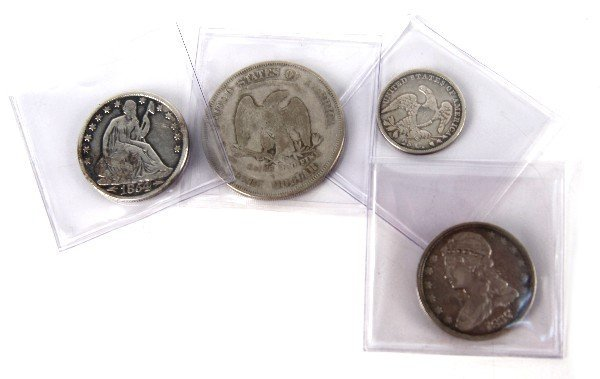 US SILVER TYPE LOT OF 4 BUST QUARTER TO TRADE DOLL