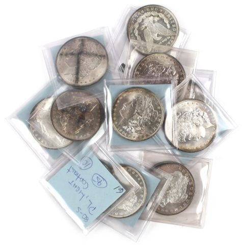 10 PROOF LIKE MORGAN SILVER DOLLARS QUALITY LOT