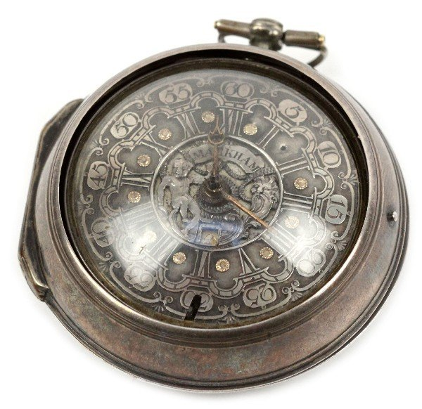 18TH CEN STERLING MARKHAM FUSEE POCKET WATCH
