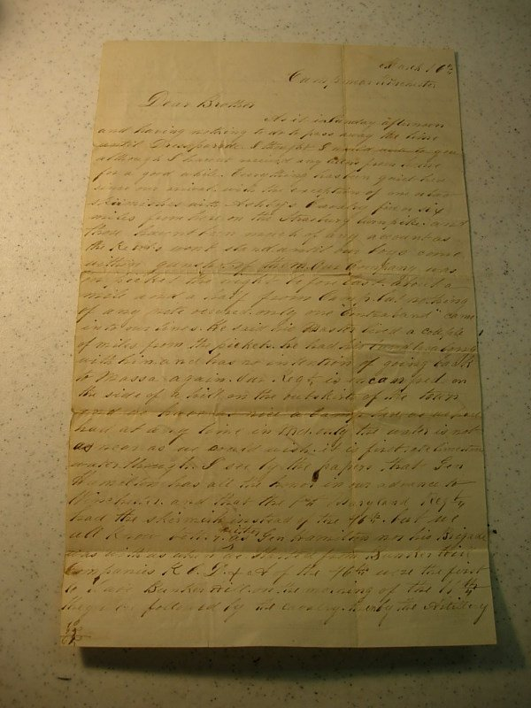 10022: CIVIL WAR LETTER VA. GEN. WILLIAMS SLAVE RELATED