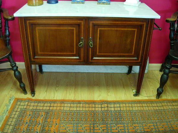 10237: ANTIQUE SERVING BAR CABINET MARBLE TOP MAHOGANY