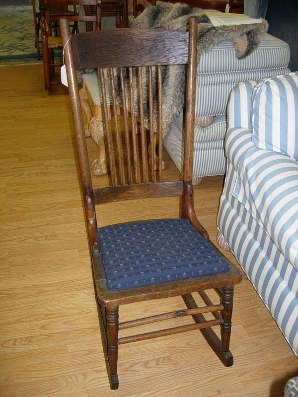 10162 Antique Rocker Oak Armless Rocking Chair