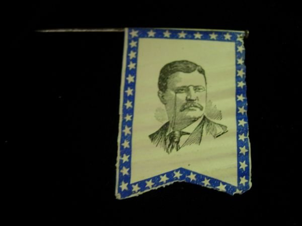 10003: TEDDY ROOSEVELT POLITICAL FLAG LAPEL PIN