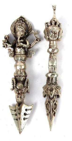 TWO TIBETAN PHURBA DAGGERS
