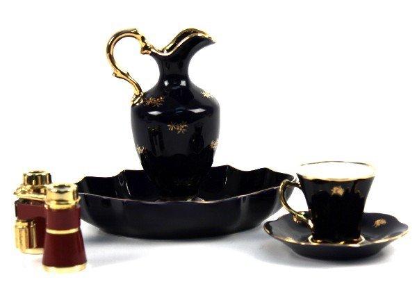 LIMOGES TEA SET COBALT AND GOLD W/ BINOCULARS