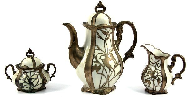HERTEL JACOBS SILVER OVERLAY COFFEE POT & CREAMER