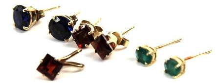 LADIES 10K  14K GOLD GEMSTONE EARRINGS