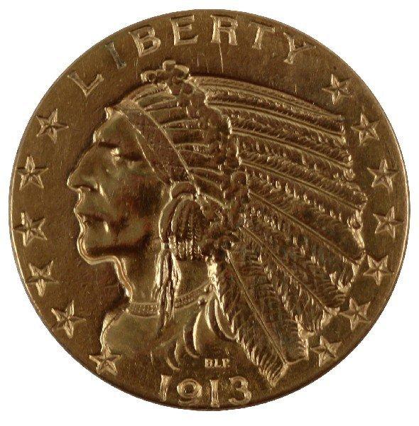 1913 GOLD $5 INDIAN HALF EAGLE COIN