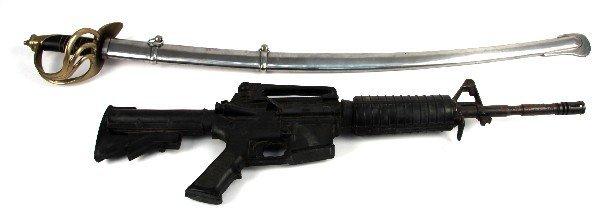 CAST RESIN M16 DUMMY RIFLE & REPRO SABER