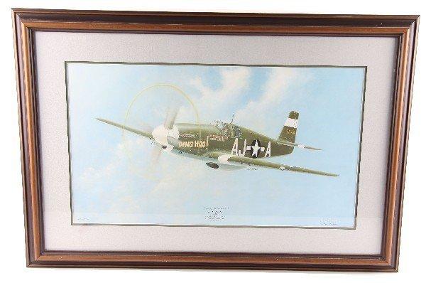 JOHN FICKLEN P51B MUSTANG PRINT SIGNED BY WAR ACE