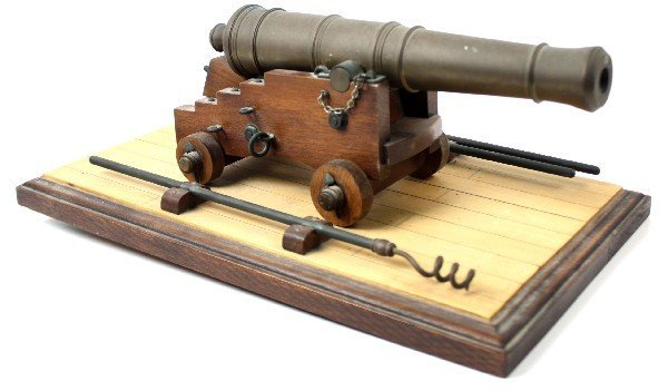 11.5 INCH GARRISON CANNON MODEL W/ BASE AND TOOLS