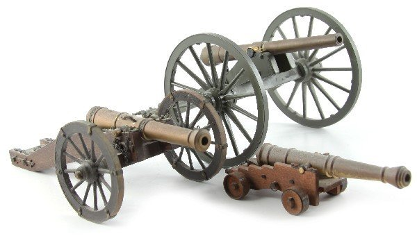 3 CANNON MODELS SHIP FRENCH ARTILLERY & HOWITZER