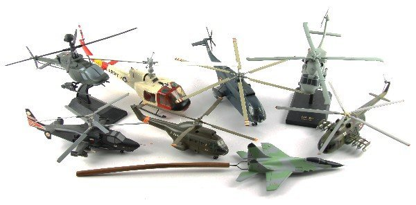 LOT OF 8 MODEL HELICOPTERS A MIG29 SEAHAWK KA50