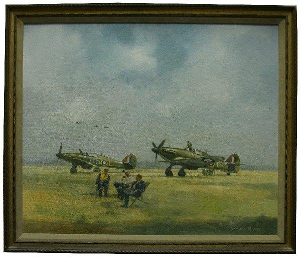 EDMUND MILLER RAF HURRICANE PAINTING