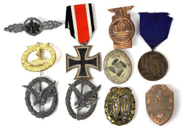 10 GERMAN WWII THIRD REICH BADGES & MEDALS